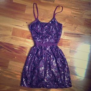 Express Sequin + Lace Mini Dress